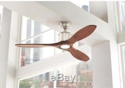 LED 52 Brushed Nickel Ceiling Fan Light and amp Remote Control Real Wood New