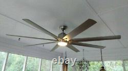 Lg 72 Indoor/Outdoor Brushed Nickel Ceiling Fan withLight Kit & Remote, Wet-Rated