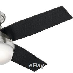Low Profile Ceiling Fan with LED Light Kit Indoor 44 in. Blades Brushed Nickel