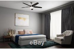 Modern Ceiling Fan with Light LED Indoor Brushed Nickel Remote Control Gray Oak