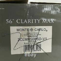 Monte Carol 56 Inch Ceiling Fan Clarity Max In/Outdoor Flush Mount Brushed Steel