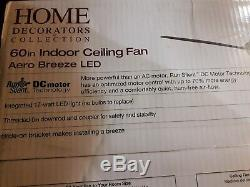 NEW AERO BREEZE 60in 60 LED BRUSHED NICKEL CEILING FAN WITH REMOTE & DC MOTOR