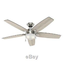 NEW HUNTER Antero 54 in. LED Indoor Brushed Nickel Ceiling Fan with Light
