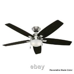 NEW! HUNTER Antero 54 in. LED Indoor Brushed Nickel Ceiling Fan with Light