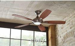 NEW Luxury 52 Inch Brushed Nickel Ceiling Fan with 5 Reversible Blades with Remote
