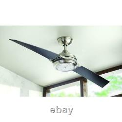 Nickel Clock Light Ceiling Fan 56 in. Large LED withRemote Unique 2-Blade Airplane