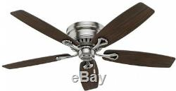 Oakhurst 52 In. Ceiling Fan LED Indoor Low Profile Brushed Nickel With Light Kit