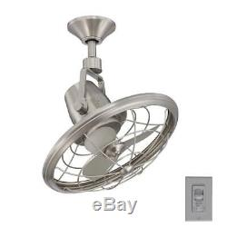 Oscillating Ceiling Fan 18 in Caged Design Wall Control Brushed Nickel Finish