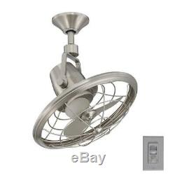 Oscillating Ceiling Fan Wall Control 18 in. Small Indoor/Outdoor Brushed Nickel