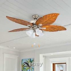 Prominence Home Grayton Tropical 52 Brushed Nickel Ceiling Fan With Light