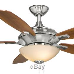 Quiet 52 Sleek Ceiling Fan Integrated Light Saucer Bowl Classic Brushed Nickel