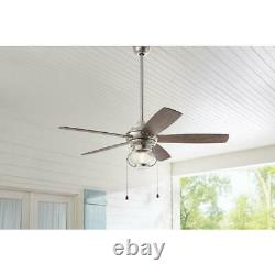 Raina 52 in. LED Outdoor Brushed Nickel Ceiling Fan with Light by HDC