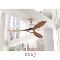 Reagan 52 LED Indoor Brushed Nickel Ceiling Fan with Light Remote Control Home