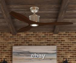 Reagan 52 in. LED Indoor Brushed Nickel Ceiling Fan with Light Kit and Remote Co