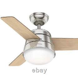 Small indoor ceiling fan with light kit and remote Hunter Finley nickel 91cm 36