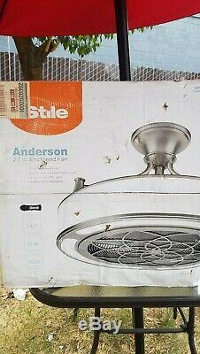 Stile anderson 22 inch ceiling fan brushed nickel finish