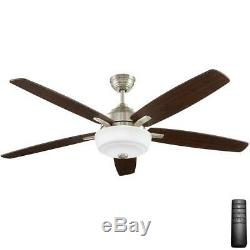 Sudler Ridge 60 in. LED Indoor Brushed Nickel Ceiling Fan with Light & Remote