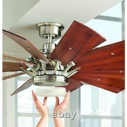 Trudeau 60 in. LED Indoor Brushed Nickel Ceiling Fan with Light Kit by Home D. C