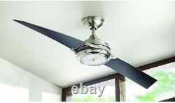 Unique Integrated LED Clock Light 56 Ceiling Fan + Remote 2-Blade Airplane Cool