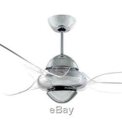 VENTO Clover 54 in. Indoor Chrome Ceiling Fan with 3 Clear Blades