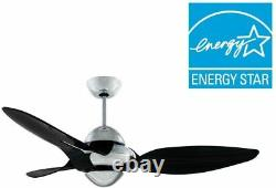Vento Clover 54 in. Indoor Chrome Ceiling Fan with 3 Translucent Black Blades